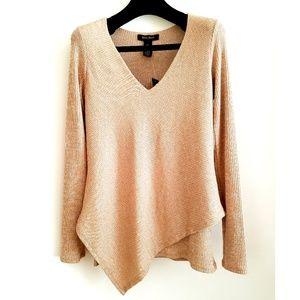 WHBM Asymmetric Hem Ribbed Long Sleeve Sweater Top